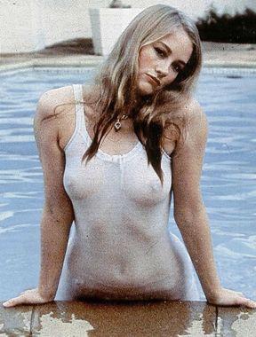 Cybill Shepherd exposes boobs in see thru bikini
