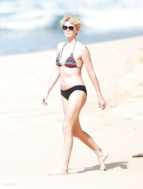 Charlize Theron photo on the beach
