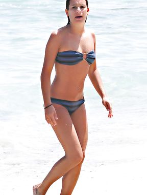 Lea Michele in a wet swimsuit